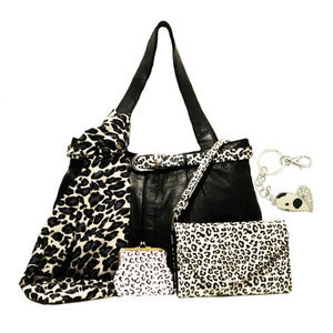 Black Leather Tote Bag Set Snow Leopard XL MOM GIF